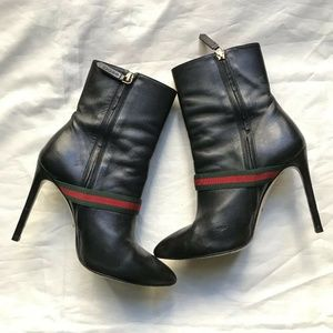 Gucci Shoes - GUCCI Black Leather Sylvie 105mm Stripe Boots Size